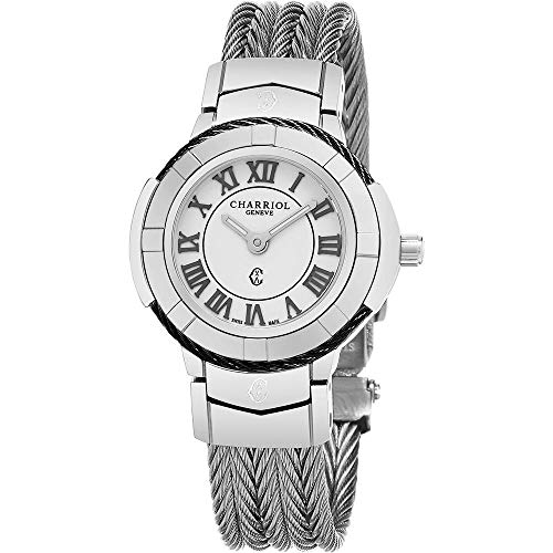 Charriol Celtic Womens Fashion Watch - 26mm White Face with Luminous Hands and Sapphire Crystal - Stainless Steel Cable Band Swiss Made Quartz Ladies Watch CE426SB.640.007