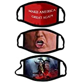 Donald Trump Face Mask Set (Set of 3) – Make America Great Again, Trump's Mouth & American Flag Face Covering – 2020 Presidential, Republican Funny Novelty Mask for Adult - Reusable & Washable Fabric