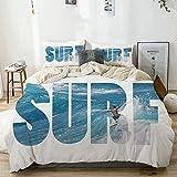 Juego de funda nórdica Beige, Surfer Riding Giant Majestic Ocean Wave en Hawaii Adrenalin Epic Athlete Sea Pacific, Juego de cama decorativo de 3 piezas con 2 fundas de almohada Easy Care Anti-Alérgic