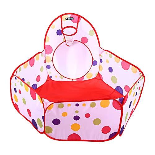 Ejoyous Juego de tienda de campaña para niños 3 en 1, diseño de puntos de colores, túneles y canasta de baloncesto, para niños y niñas, para interior y exterior