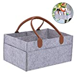 WE-WIN Baby Windel Caddy Tote Portable Nappy Basket Stroller Organizer Diaper Storage Bin for Car Travel-Gray