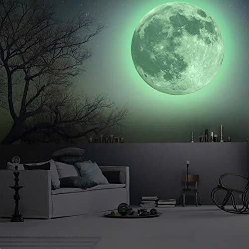 Decoration Decal Home Moon Green Wall Stickers Art Mural Glow Dark 12cm x 12cm