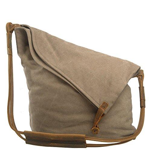Borsa a tracolla donna, P.KU.VDSL borsa a tracolla traspirante in tela, borsa a spalla per Hobo a spalla per shopping di scuola di viaggio (cachi)