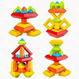 Kids Square Building Block Toy Pyramid 3D Puzzle Toy Toddler Turret Nesting Block Rainbow Tower Stack Toy Speed Cube Set Tower Creative Early Education Baby Toys for Preschool Assembled 15PCS