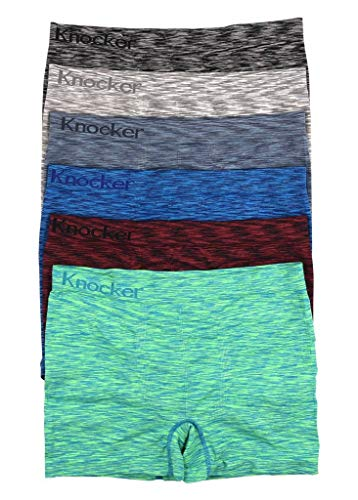 Men's Seamless Boxer Brief Stretchable Underwear 6-pcs Set, Assorted Colors