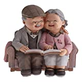 Sweet Elderly Couple Figures Table Decoration, Gift idea for Grandpa/Grandma-Aged Man, Birthday Christmas Sweet and Mini Ornament Design Ideal for Decorating of House x (Color : Brown)
