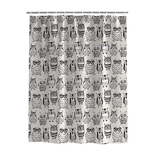 Decorative Black and White Owl Pattern Shower Curtain Style