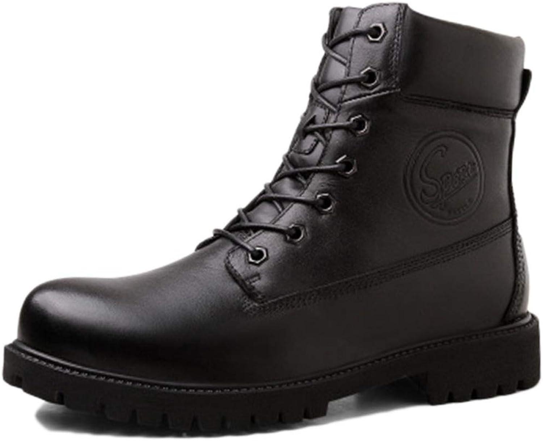 Nihiug Martin Stiefel Oxford Schuhe Erwachsene Stiefel Klassische Stiefel Leder Herbstwinterwerkzeugschuhe Plus Warme Samthochhose  | Ausgezeichnetes Handwerk