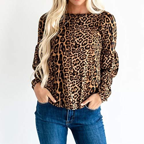 DNOQN Mode Frauen O-Ausschnitt Leopardenmuster mit Langen Ärmeln Easy Pullover Blusen Tops