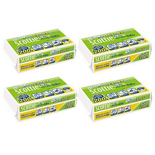 スマートマットライト 【まとめ買い】 スコッティ ペーパーふきん サッとサッと 400枚(200組) ×4個セット