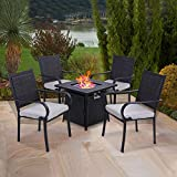 """PHI VILLA 28"""" Gas Fire Table with 4 Cushioned Metal Chairs, 5 Piece Propane Fire Pit Table Set with 11 lbs Fire Glass, Outdoor Conversation Set for Yard, Patio, Garden"""