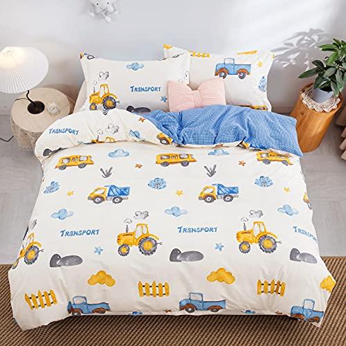 Set di biancheria da letto per bambini, per auto, camion, copripiumino con federa 100% microfibra per letto singolo, 135 x 200 cm