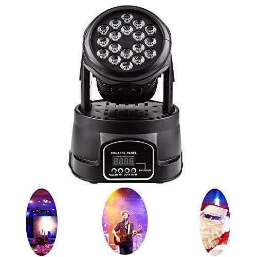 Discolampen, kopschuddende podiumverlichting, 18 3W LED DJ-lampen DMX 512-stembediening, geschikt voor feestjes, bar, karaoke, banketzaal, koplampeffect