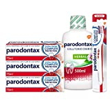 Parodontax Complete Protection Extra Fresh - Pack de 3 pastas de dientes con 1 cepillo de dientes suave y 1 colutorio diario herbal