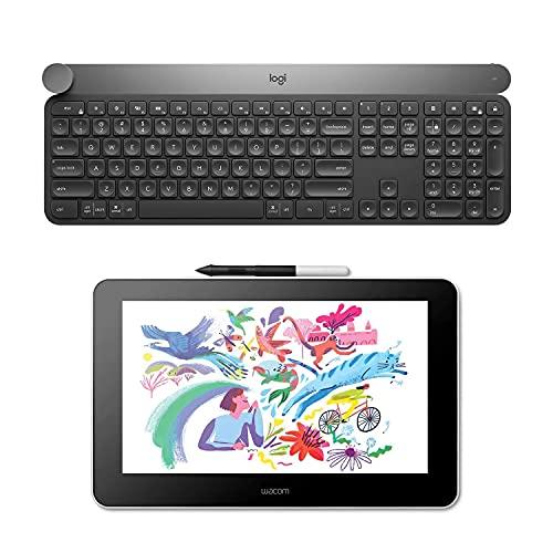Wacom One Creative Pen Display de 13.3' con Software Incluido para Esbozo/Dibujo en Pantalla y Logitech Craft Teclado Inalámbrico, 2.4 GHz/Bluetooth, Disco Selector Creativo