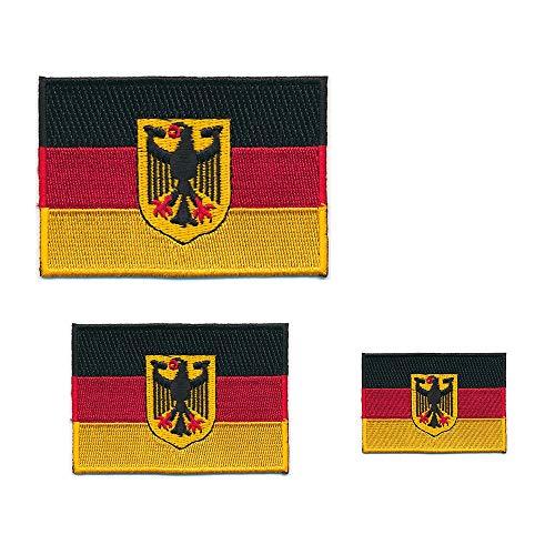 hegibaer 3 Deutschland Flaggen Adler Berlin Germany Flags Patch Aufnäher Aufbügler Set 0628