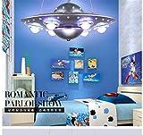 LCTCXD Colore LED luce UFO luce di soffitto, creativa UFO Modeling Kids Room Island Light Lampadario Illuminazione Ferro Camera Kindergarten Hanging Lampada a sospensione