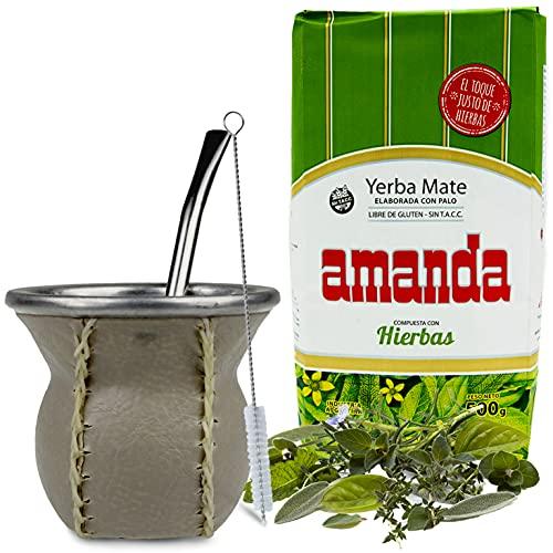 Juego de té mate: Yerba Mate Tee Amanda Elaborada con Hierbas 0,5 kg | Vaso mate de cristal con revestimiento de piel auténtica (marrón claro) – CalebBass | Bombilla | Cepillo de limpieza