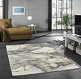 Merinos Alfombra de diseño Alfombra de salón Mármol imitación con Fibras de Vidrio en Gris Oro Größe 160x230 cm