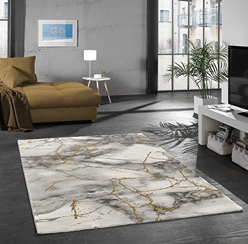 Merinos Teppich Wohnzimmer Design Teppich Marmor Optik mit Glanzfasern in Grau Gold Größe 80x150 cm