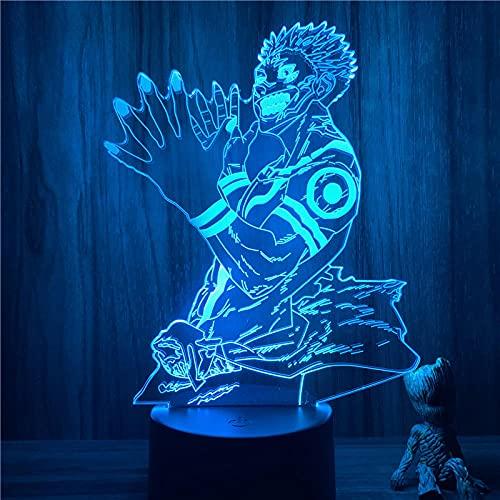 Lámpara de ilusión 3D Luz de noche LED Anime Juskeleton Kaisen Ryomen Sukuna Lámpara de mesa táctil de 7 colores Decoración Regalo Oficina en casa Restaurante Fiesta Niño Niña Regalo