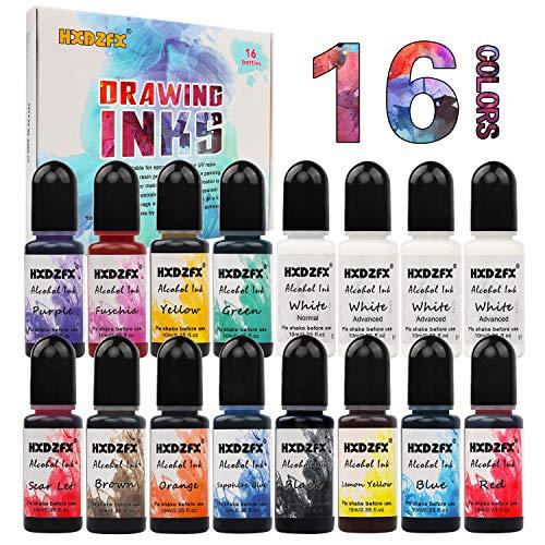 Alkohol Tinte Set - 13 Farben Hochkonzentrierte Alcohol Ink - Konzentrierter Alkoholfarbstoff, ideal für die Herstellung von Harz-Petrischalen, Epoxidharz-Malerei, Alkoholtinte Art (16 × 10 ml)