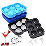 IMustech Ice Cube Trays Silicone Set of 3, Large Sphere Ice Ball Maker with Lid for Whiskey, Round Ice Cube Molds for Cocktails & Bourbon, Reusable and BPA Free