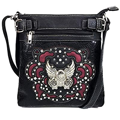 Justin West Tooled Winged Sugar Skull Roses Laser Cut Crossbody Messenger Bag Handbag Purse with Concealed Carry and Phone Slot