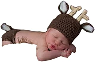 Pinbo® Newborn Baby Photography Prop Crochet Knitted Animal Deer Hat Diaper