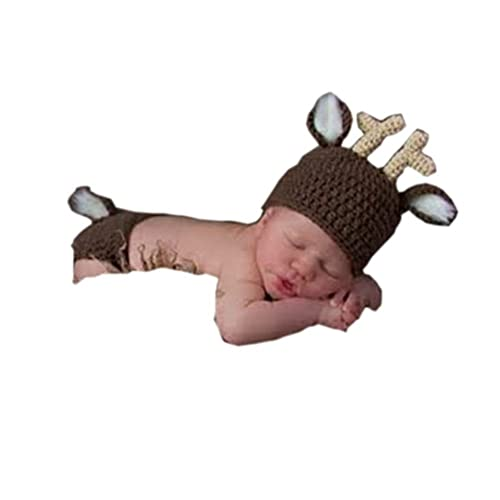 eb750f8e30a Pinbo® Newborn Baby Photography Prop Crochet Knitted Animal Deer Hat Diaper