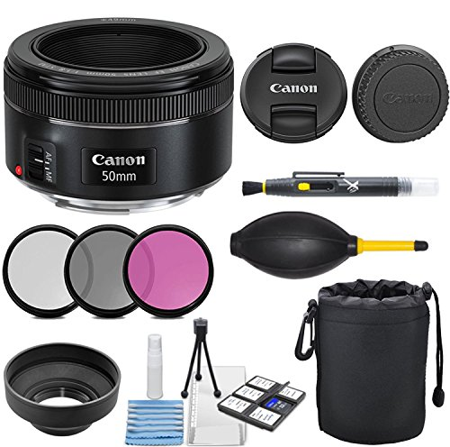 Canon EF 50mm f/1.8 STM Lens with 3pc Filter Kit (UV, CPL, FLD), Deluxe Lens Pouch, Lens Hood, Deluxe Cleaning Kit, Lens Accessory Bundle
