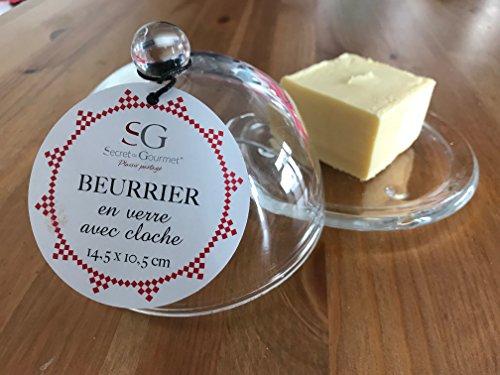 BEURRIER SECRET de GOURMET - Beurrier en Verre avec cloche 14,5 * 10,5cm (Petite)
