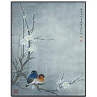 ブルーバードキャンバスウォールアート - 現代アートホームは、ストレッチやフレームを選ぶ準備にハング - 中国の風景動物鳥インクは、絵画 40x60