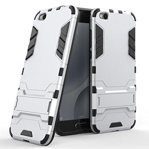 Xiaomi Mi 5C Hülle, SsHhUu Stoßsichere Dual Layer Hybrid Tasche Schutzhülle mit Ständer für Xiaomi Mi 5C 2017 (5.15 Zoll) Silver