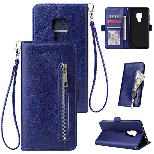 HUDDU Kompatibel mit Handyhülle für Huawei Mate 20 Hülle Leder Wallet Schutzhülle Kartenfächer Reißverschluss Brieftasche Magnetverschluss Filp Tasche PU Case Ständer Lederhülle Wristlet Blau