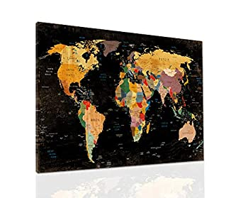Decor MI Colorful World Map Wall Art on Canvas Black Deco Prints Paintings Travel Map of the World Children Education Ready to Hang Map Decor Artwork for Home Living room Decoration,24 x35  60x90cm