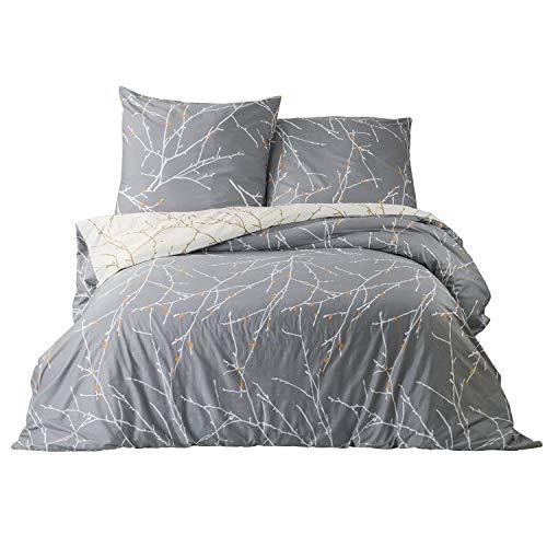 Bedsure bettwäsche 155x 220 Baumwolle Grau/Beige Bettbezug Set mit Zweige Muster, 3 teilig bettwäsche 155 220 Baumwolle Bettbezüge mit Reißverschluss und 2 mal 80x80cm Kissenbezug