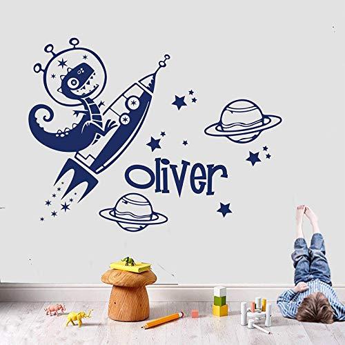 AGiuoo Dinosaurio Cohete calcomanía de Pared Nombre Personalizado Universo Estrella Espacio Astronauta Vinilo Pegatina niños niño Dormitorio decoración del hogar 77x100cm