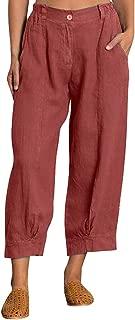 PEIZH Womens Plus Size Pocket Zip Button Pants Fashion Zipper Button Loose Cotton Linen Splice Pants