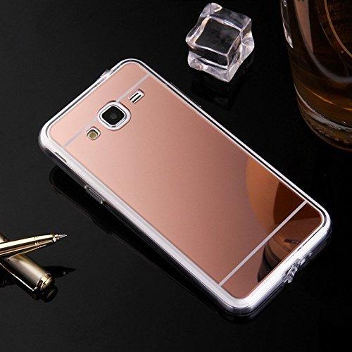 Ukayfe Custodia Cover Samsung Galaxy J5 2015, Custodia per Samsung Galaxy J5 2015 UltraSlim Specchio Copertura Cover Case Protettiva con Morbido TPU Placcatura Design Protettiva Shell-Oro Rosa