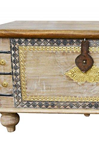 Orientalische Truhe Kiste aus Holz Baschira - 88cm groß | Vintage Sitzbank mit Aufbewahrung für den Flur | Aufbewahrungsbox mit Deckel im Bad | Betttruhe als Kissenbox oder Deko im Schlafzimmer - 4