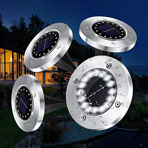 VOLADOR Solarlampen für Außen, IP65 Wasserdichte Solarleuchten Garten, 16 LEDs Solar Bodenleuchten, Solarlampen für Außen Garten, LED-Gartenleuchten Solar für Rasenweg Patio- Weiß (4 Packs)