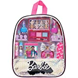 Barbie - Townley Girl Silver Backpack Cosmetic Makeup Set with Mirror includes Lip Gloss, Nail Polish & Hair Bow and more! for Kids Toddler Girls, Ages 3+ perfect for Parties, Sleepovers and Makeovers