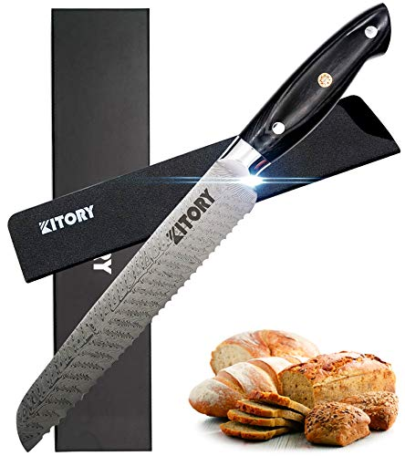 KITORY Kitchen Bread Knife 8' – Professional Serrated Slicer Slicing Cutlery – Pakkawood Handle -Japanese High Carbon Stainless Steel Blade with Laser Damascus Pattern - YUWEN Series K0107