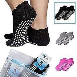 Skyba Anti Rutsch Socken Stoppersocken Noppensocken für Damen- Grips für Barre, Pilates, Yoga, Schwangerschaft, 2-paar Schwarz, EU 37-39 (Herstellergröße: M)