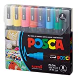 posca Acrylic Paint Marker Set, 8 Color Medium, PC-5M, Version 2 (PC5M8SET), multicolor (PXPC5M8SET)