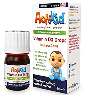ActiKid Vitamin D3 Drops 30ml for newborn babies, infants and children (a sugar free, preservative free, no allergens, baby, vitamin d supplement) by ActiKid