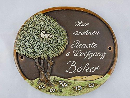 Türschild Keramikschild Baum mit Vogel groß Keramik Haustürschild