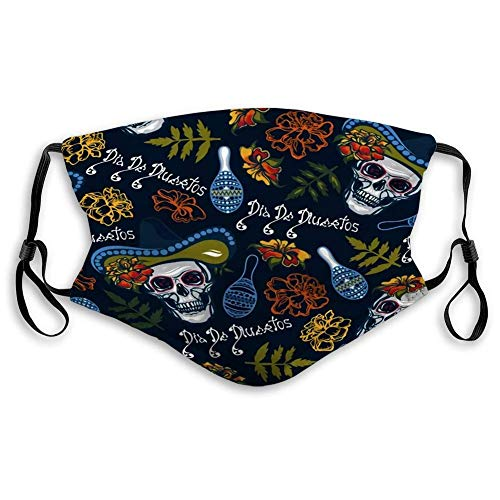 Dia De Muertos with Skulls in Hats Maracas Flowers Marigolds Unisex Windproof and Dustproof Mouth Mask, Face Cover with Fliters