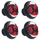 Juego de 4 tiradores de cristal para cajones con tornillos para cocina, aparador, armario, baño, armario, armario, ropero, romántico, día de San Valentín, flor de rosa roja, 35 mm